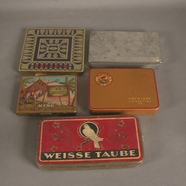 Five cigarette tins. 1920 -...