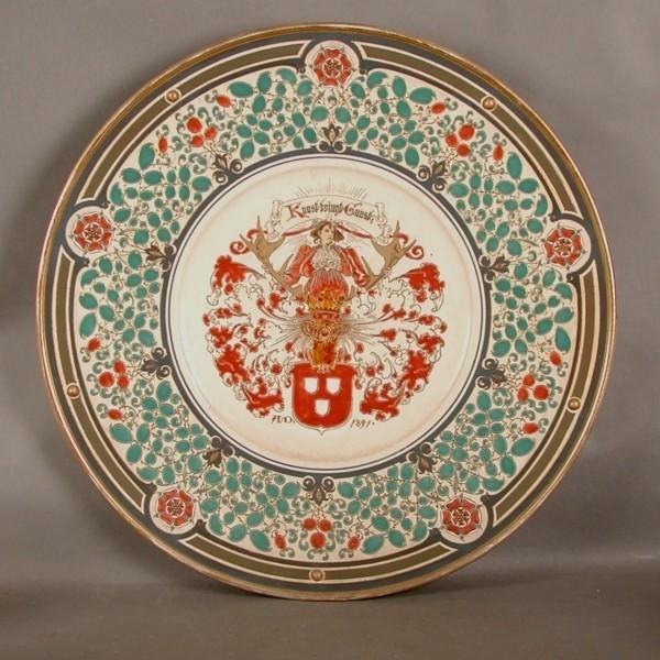 Mettlach. Ceramic plate....