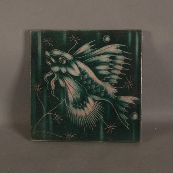 Art Nouveau. Ceramic tile....