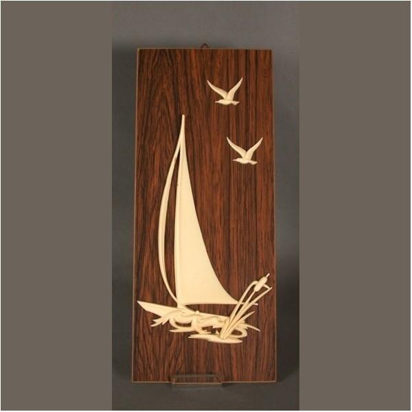 Vintage. Ship motif on wood...