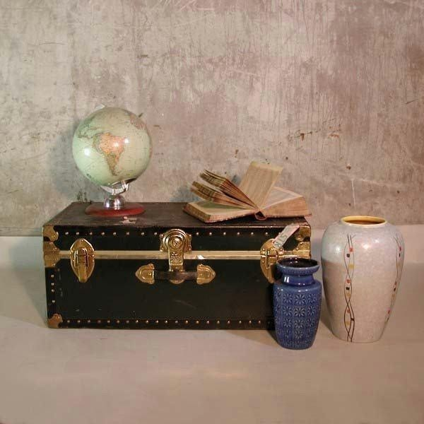 Antique suitcase with metal...