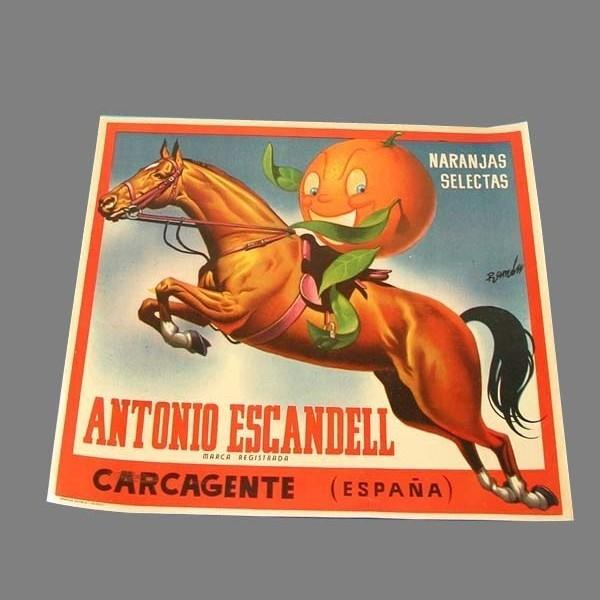 Cartel de caja de naranjas....