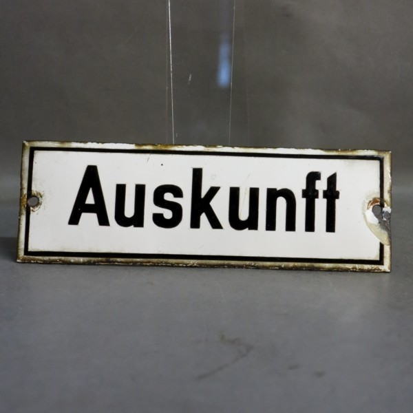 Advertising sign. Auskunft....