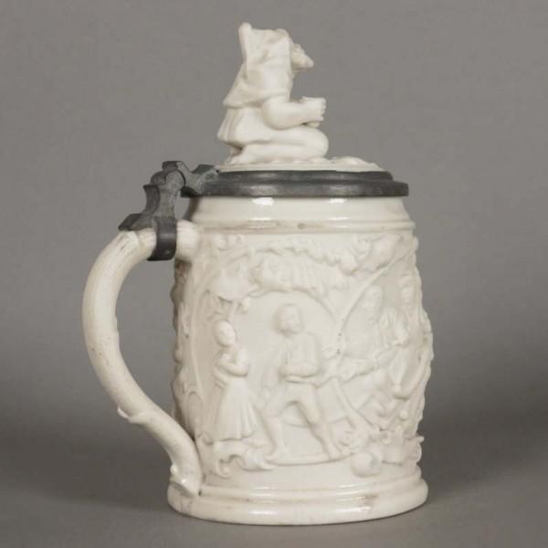 Porcelain beer mug with...