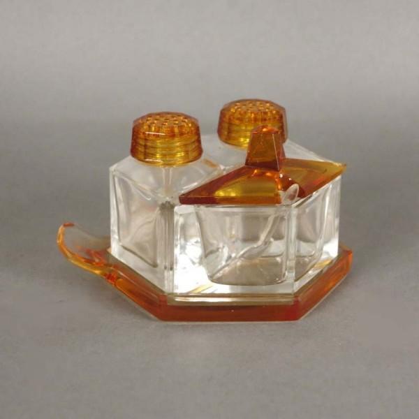 Glas Art Deco Set. Salz,...