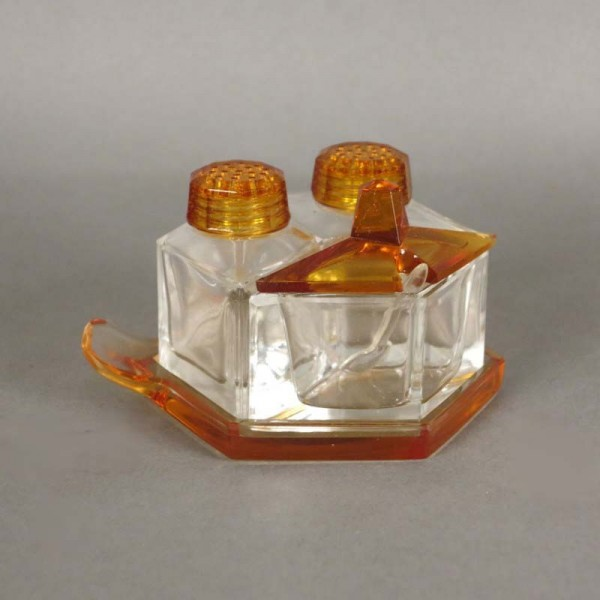 Glass Art Deco set. Salt,...