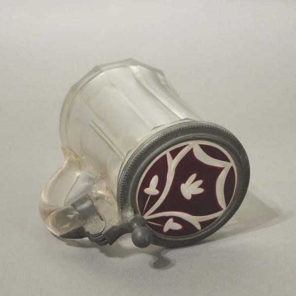 Glass beer mug with tin...